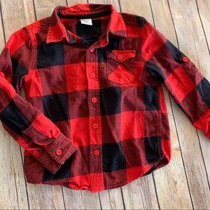 Boys red buffalo plaid flannel button down